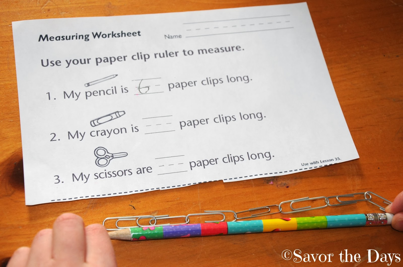 Savor The Days Measuring Length With Paper Clips