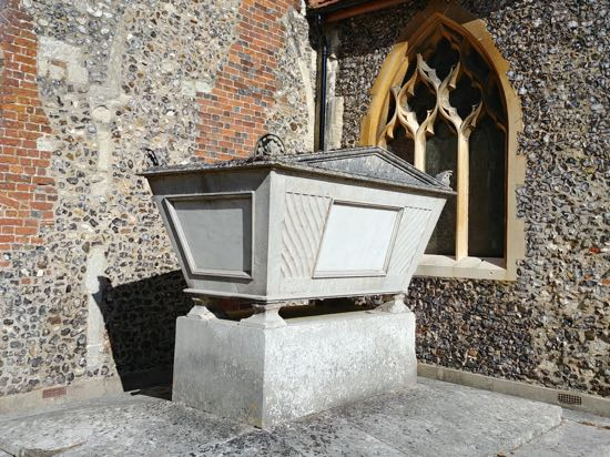 Photograph of The Grade II listed Gaussen tomb at St Mary's Church, North Mymms - August 2018 Image by the North Mymms History Project released under Creative Commons BY-NC-SA 4.0