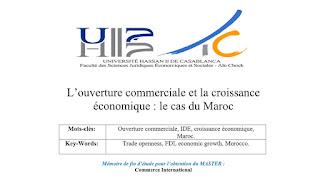 Mémoire: L'ouverture commerciale et la croissance économique le cas du Maroc