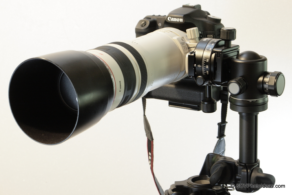 Alternative Gimbal Head w/ Canon EF 100-400 L IS USM & Canon EOS 50D front