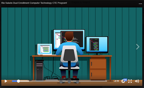 snapshot from video: animated still of a young man working on his computer.