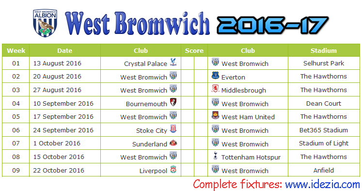 Download Jadwal West Bromwich Albion 2016-2017 File PDF - Download Kalender Lengkap Pertandingan West Bromwich Albion 2016-2017 File PDF - Download West Bromwich Albion Schedule Full Fixture File PDF - Schedule with Score Coloumn