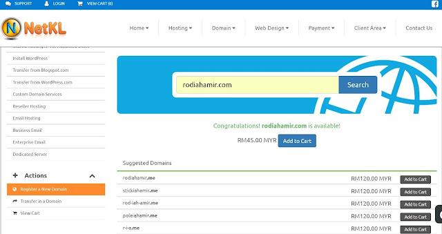 Cara beli domain di NetKL mudah