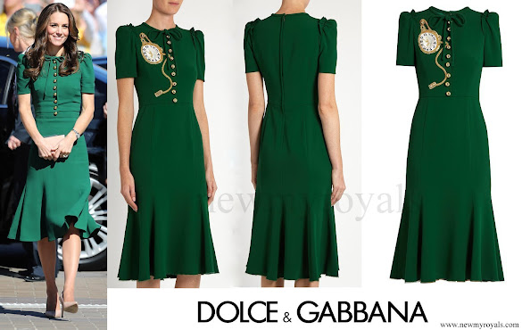 Kate Middleton wore DOLCE and GABBANA Pocket watch-appliqué crepe midi dress