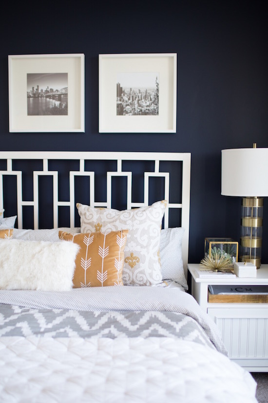 terrific navy blue bedroom accent wall | The Zhush: Blogger Home Tours: My Style Vita