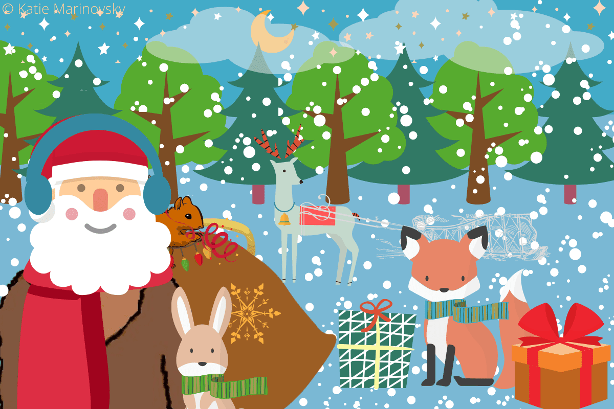 Santa Claus and little animals from forest