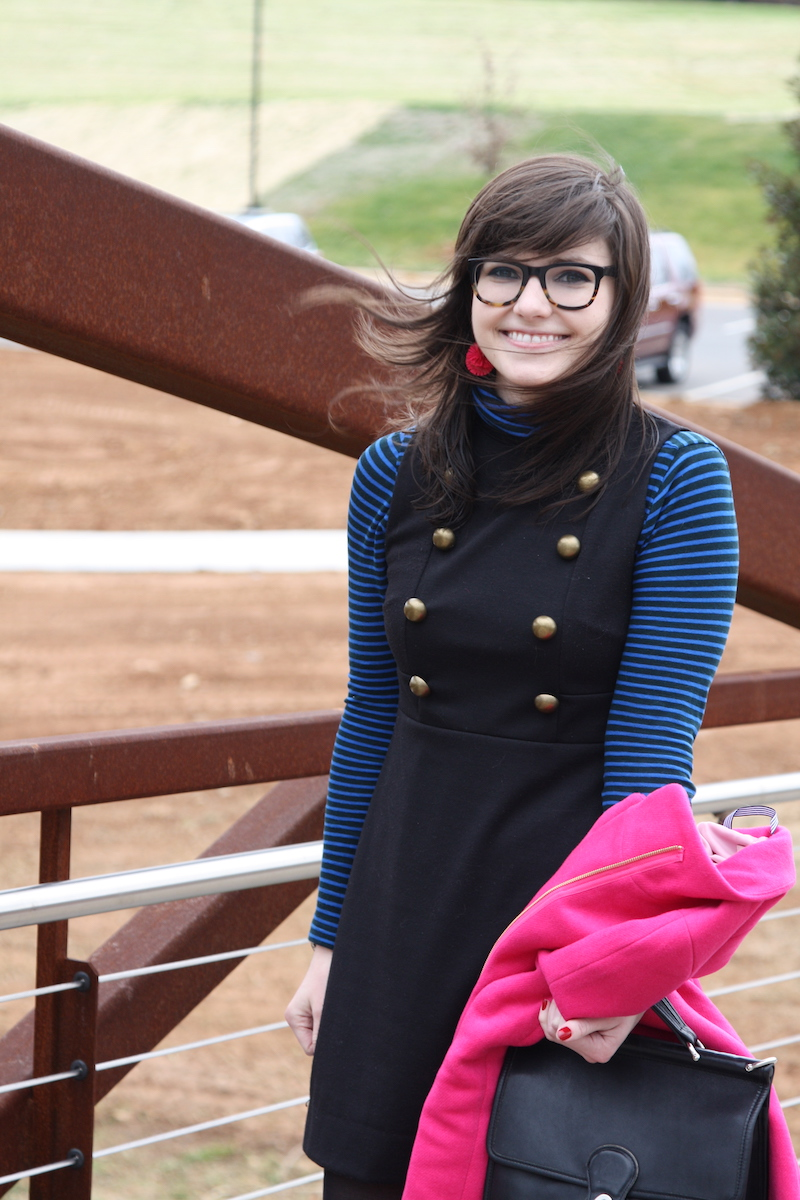 2017, winter, OOTD, turtleneck, mini dress, 60s vibe, stripes, pink,