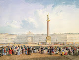 View of Dvortsovaya Square and the General Staff Building, St Petersburg by Vasily Semyonovich Sadovnikov - Cityscape drawings from Hermitage Museum