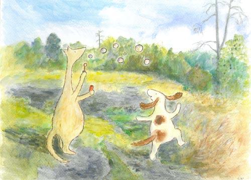 Postcard illustration of Hulmu Hukka and Haukku Spaniel blowing soap bubbles in the meadow