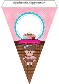 Banderines de Chicas Haciendo Cupcakes para imprimir gratis.