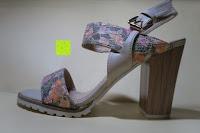Seite: Alexis Leroy Blockabsatz Blume gedruckt Damen Offene Sandalen mit Keilabsatz