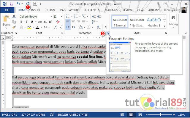 Cara mengatur paragraf di Microsoft word
