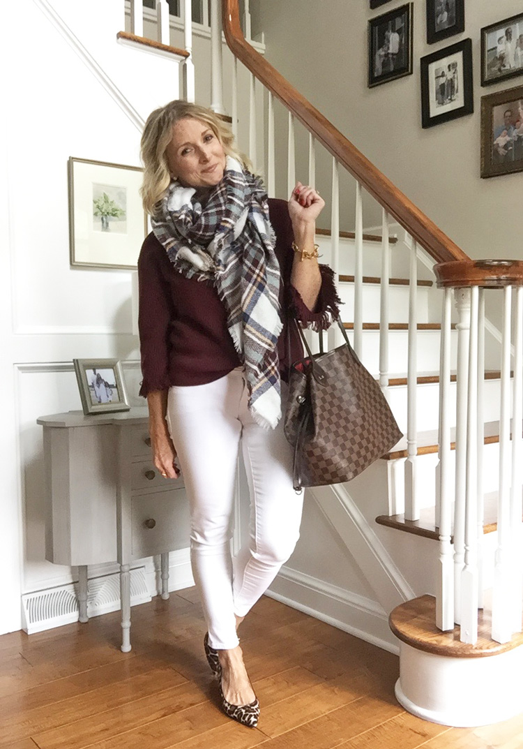 burgundy sweater with white jeans, a plaid blanket scarf and leopard heels