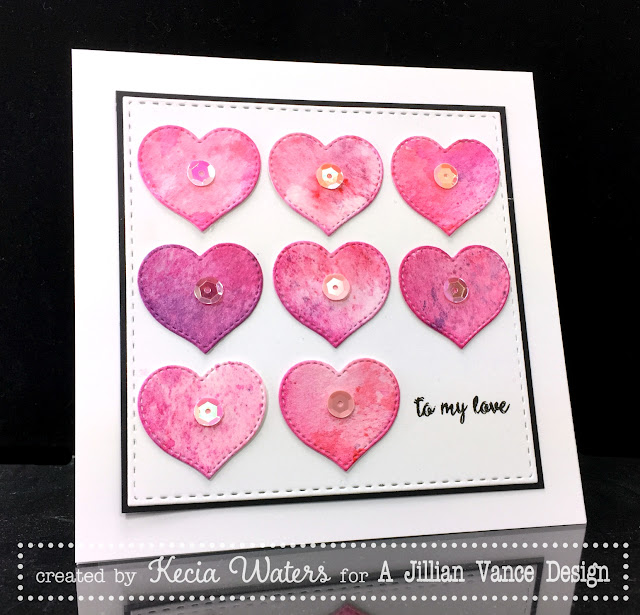 AJVD, Kecia Waters, Distress Inks, hearts, watercoloring