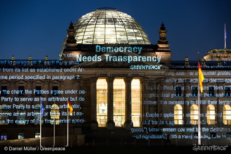 Projeção do TTIP no Parlamento Federal alemão