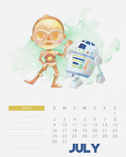 Calendario 2017 de Star Wars para Imprimir Gratis  Julio.