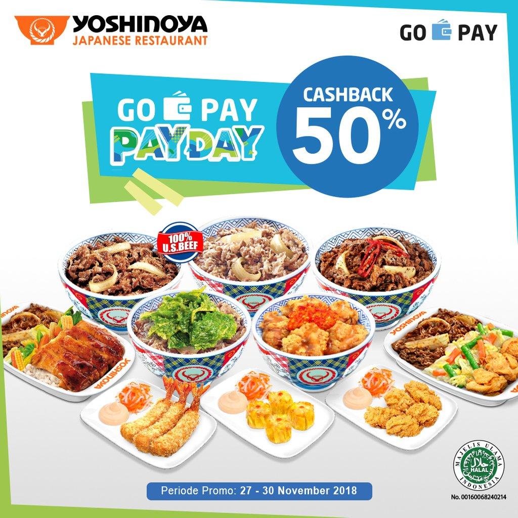 Yoshinoya - Promo Cashback 50% Pakai GOPAY (s.d 30 Nov 2018)