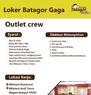 Lowongan Kerja Outlet Crew di Batagor Gaga Makassar