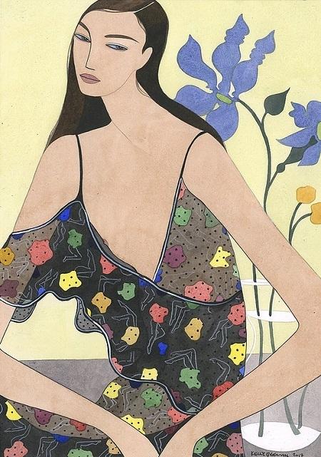Kelly Beeman arte | dibujo en acuarela de mujer en vestido casual fashionista