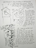 Work sheet for how to draw a birdhouse lesson and project.