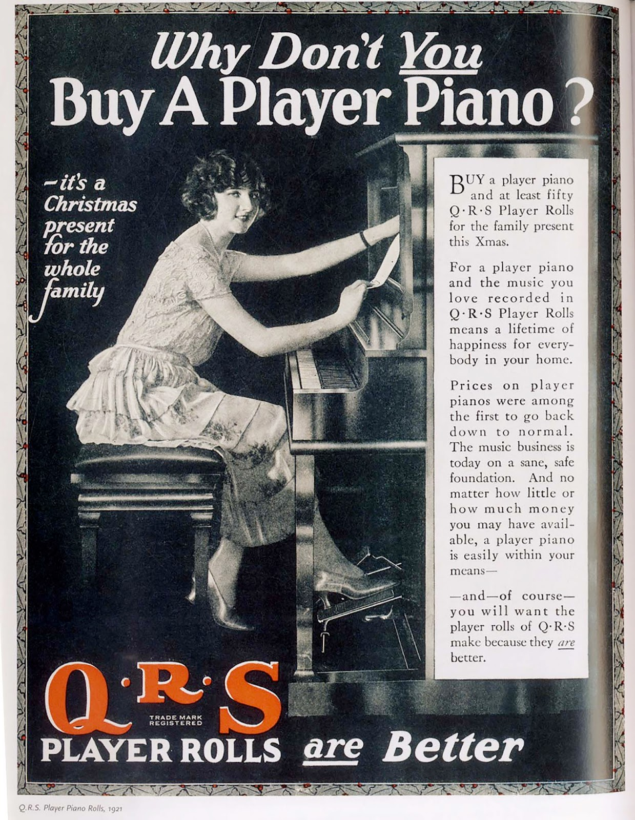 Why don't you buy a Palyer Piano? QRS Piano Rolls are better 1921