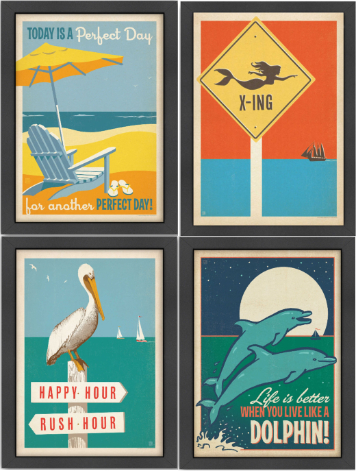 Framed Coastal Vintage Retro Prints by Anderson Design Group
