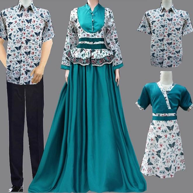 Baju Embos Kombinasi Batik: 10 Model Baju Batik Couple Gamis Elegan Terbaru 2018