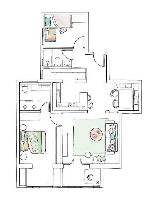 plan de amenajare pentru un apartament cu trei camere si 80 mp