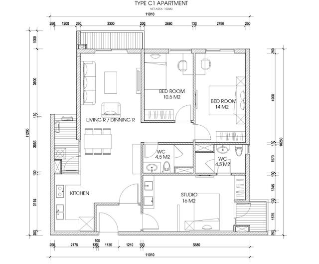 thiết kế căn hộ the two residence