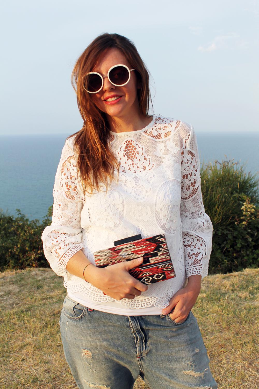 occhiali da sole tondi bianchi