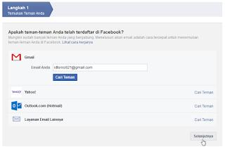 Menemukan teman facebook melalui kontak email