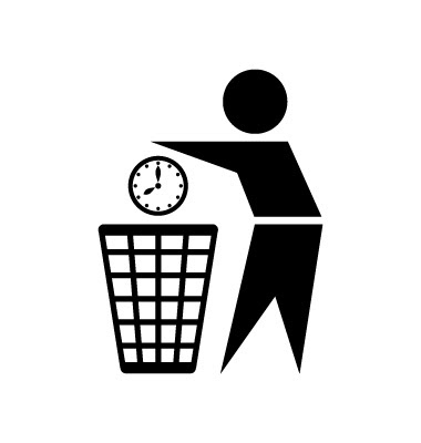 Graphic of a man tossing a clock into the trash