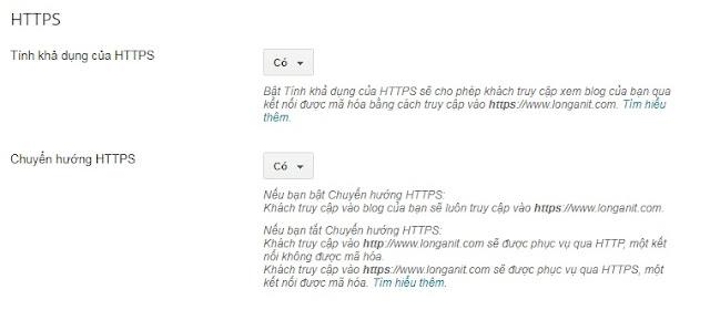 Cấu hình chuyển hướng https trong blogspot