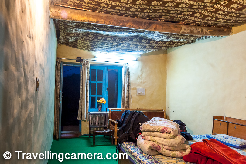 Here is how our rooms looked like. We needed cozy rooms to deal with the chill of Nako village. Nako is surrounded by snow covered peaks and hence it's quite cold during night, even in summers. We had to take out our warm cloths at Nako.