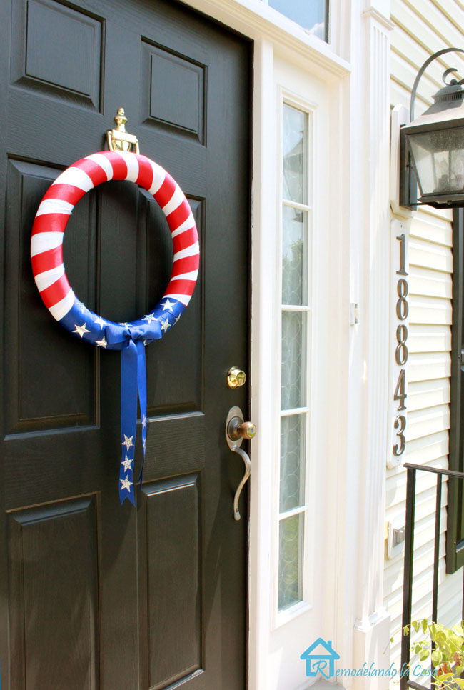 Front porch decorated for fourth of july