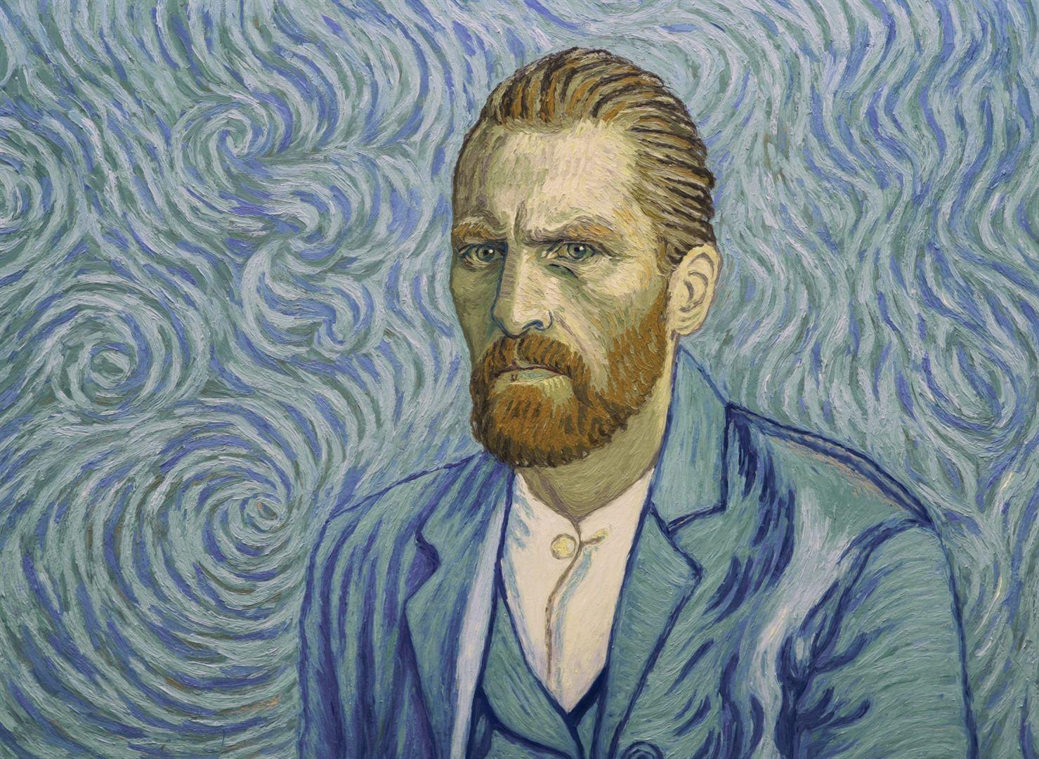 une image tirée du film reprenant un autoportrait de Van Gogh avec l'acteur du film