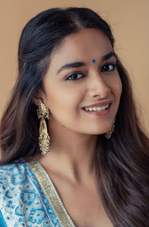 Mana Keerthy Suresh: Keerthy Suresh in Blue Dress with Cute and Awesome Lovely Chubby Cheeks Smile