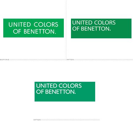 46979124e ... UNITED COLORS OF BENETTON. Em 1996, o designer Massimo Vignelli mudou o  texto para o canto superior esquerdo da caixa verde do logotipo.
