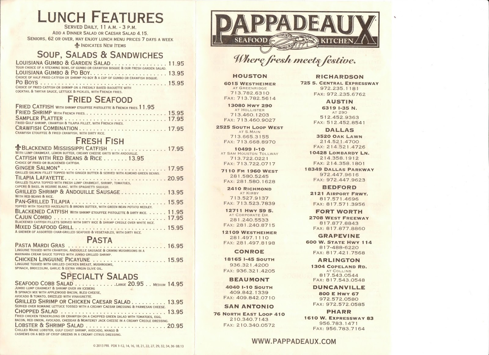 Pappadeaux Seafood Kitchen Menu Houston Tx