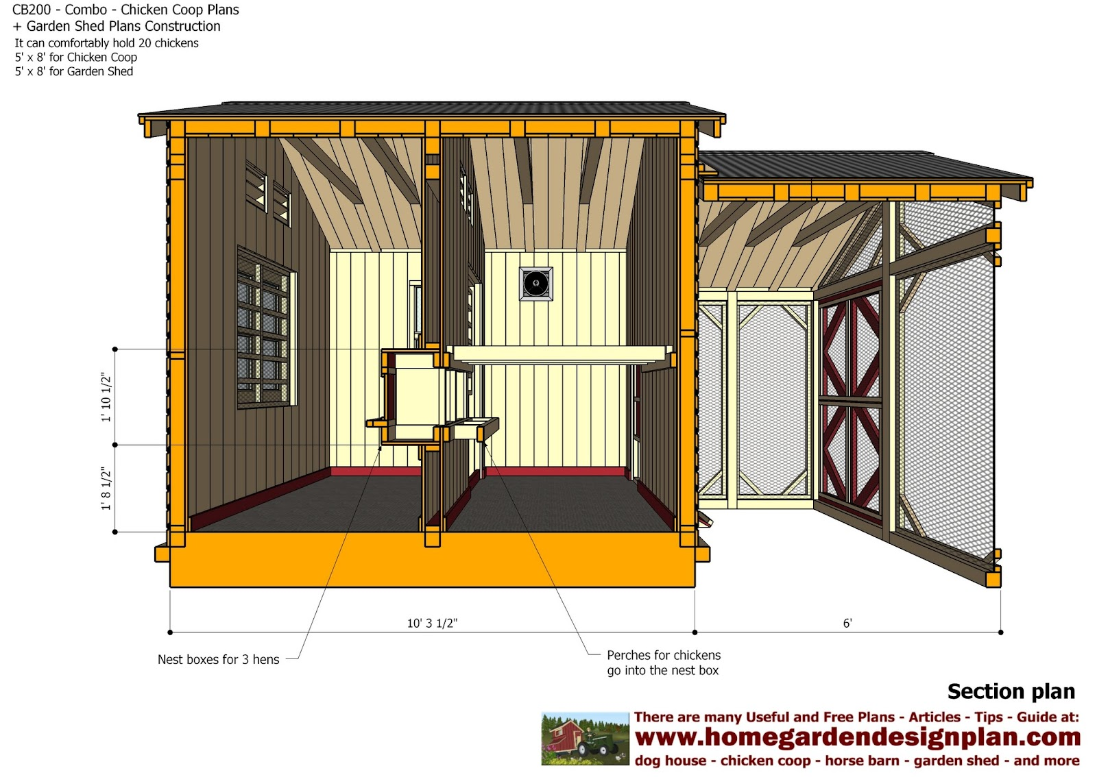 Home garden plans cb200 combo plans chicken coop for Shed design plans