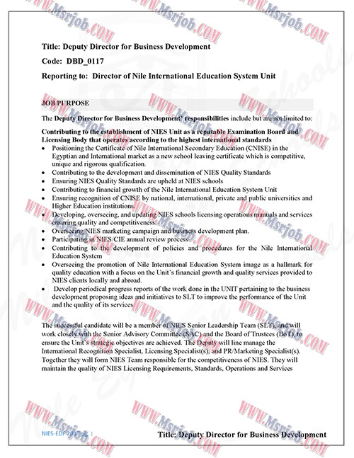 اعلان وظائف مدارس النيل الدولية لخريجي الجامعات والتقديم حتى 3 / 8 / 2017