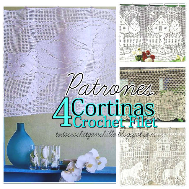 Cortinas En Crochet Filet 4 Patrones Gratis