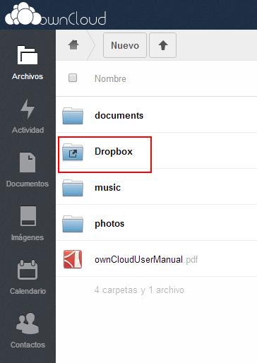 Dropbox desde ownCloud.