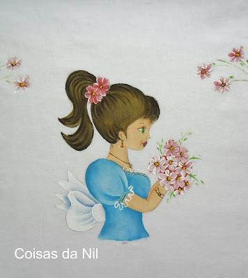 pano de copa com boneca pintada vestido azul
