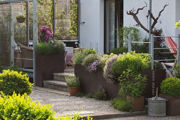 Garten umgestalten mit neuem Gartenteich, Holzdeck - Blick vom Holzdeck