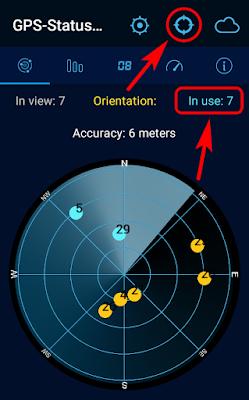 Количество спутников, кнопка перехода к карте