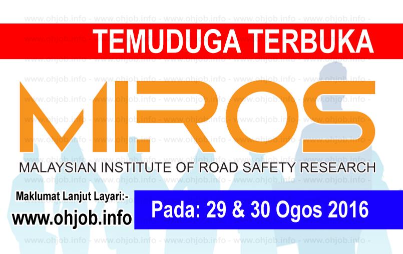 Jawatan Kerja Kosong Institut Penyelidikan Keselamatan Jalan Raya Malaysia (MIROS) logo www.ohjob.info ogos 2016