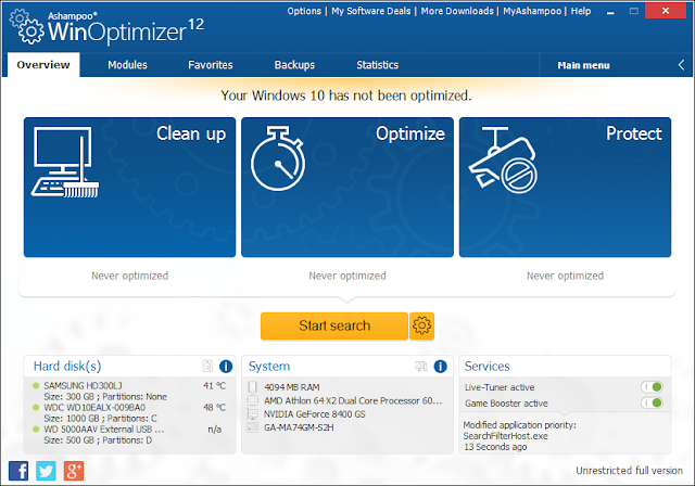 تحميل برنامج Ashampoo WinOptimizer 12 اشامبو ينوبتيميزر 12 ...