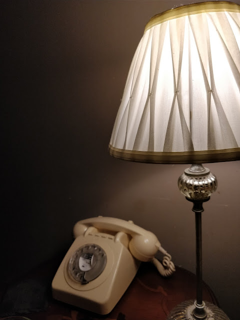 lamp and vintage telephone