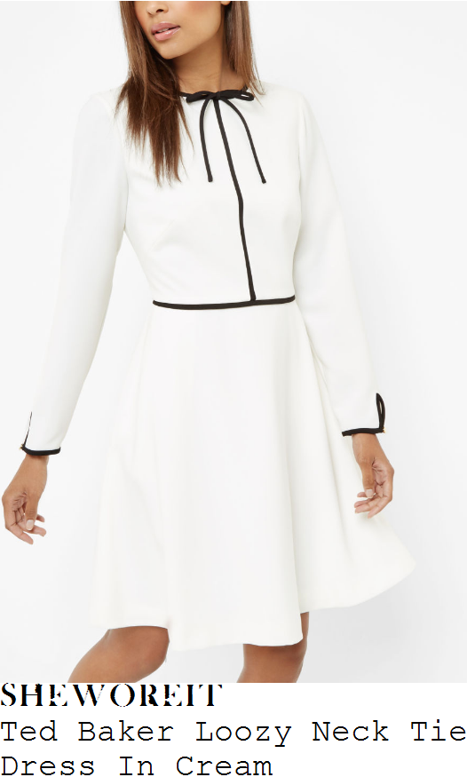 rebecca-adlington-ted-baker-loozy-cream-white-and-black-long-sleeve-bow-tie-contrast-piping-detail-high-waisted-fit-and-flare-a-line-day-dress